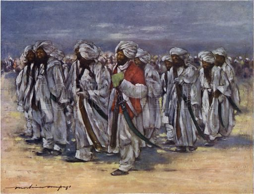 Baluch Chiefs on Durbar Day. Illustration for The Durbar by Mortimer Menpes with text by Dorothy Menpes (A&C Black, 1903). This durbar was held in 1903 to celebrate the succession of Edward VII and Alexandra of Denmark as Emperor and Empress of India.