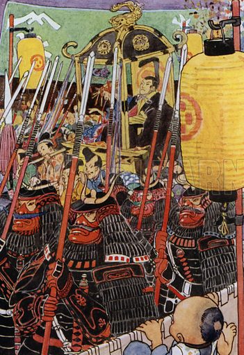 A troupe of warriors in red and black armour. Illustration for The Story of The Mikado told by Sir W S Gilbert (Daniel O'Connor, 1921).