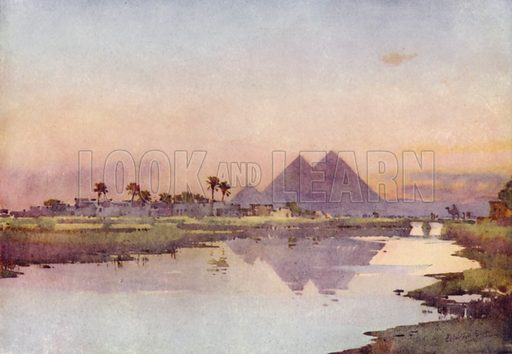 The Nile and the Pyramids. Illustration for The World by Ascott R Hope (A&C Black, 1908).
