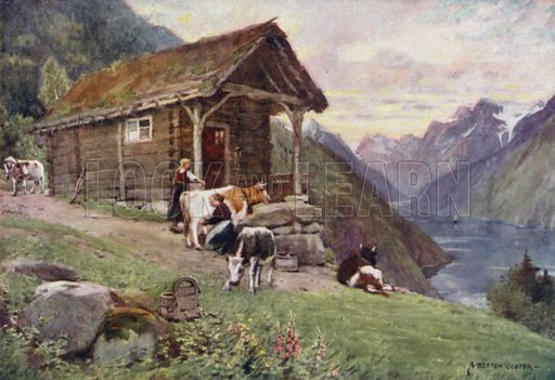 A Norwegian fjord. Illustration for The World by Ascott R Hope (A&C Black, 1908).