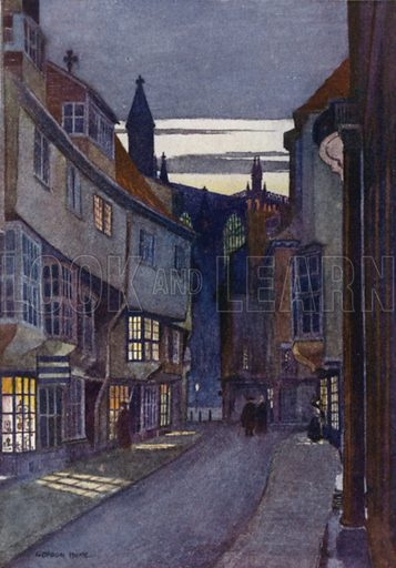 Stonegate, York. Illustration for Yorkshire Vales and Wolds painted and described by Gordon Home (A&C Black, 1908).