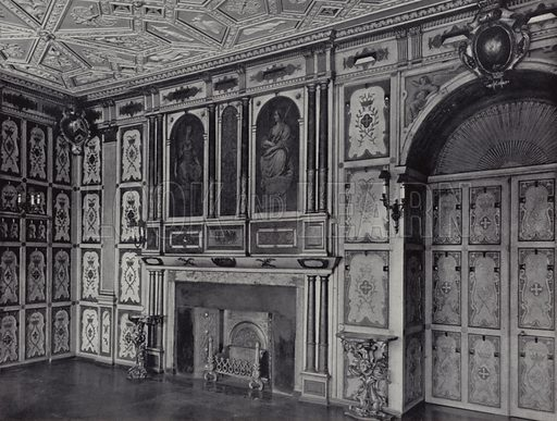 Kensington, Holland House, Gilt Room, first floor, c 1640. Illustration for Royal Commission on Historical Monuments, Inventory of the Historical Monuments in London, West London (1925).