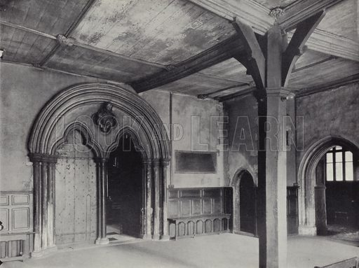 Lambeth, Lambeth Palace, 'Post Room' in Lollard's Tower, c 1435, with West doorway of Chapel, early 13th-century. Illustration for Royal Commission on Historical Monuments, Inventory of the Historical Monuments in London, West London (1925).