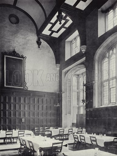 Finsbury, the Charterhouse, Interior of Great Hall, looking South East, mid 16th-century. Illustration for Royal Commission on Historical Monuments, Inventory of the Historical Monuments in London, West London (1925).