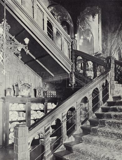 Kensington, Holland House, Principal Staircase, c 1607. Illustration for Royal Commission on Historical Monuments, Inventory of the Historical Monuments in London, West London (1925).