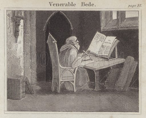 Venerable Bede. Illustration for Beginnings of Biography by Isaac Taylor (J Harris, 1824).
