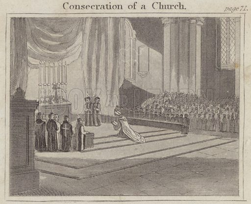 Consecration of a Church. Illustration for Beginnings of Biography by Isaac Taylor (J Harris, 1824).