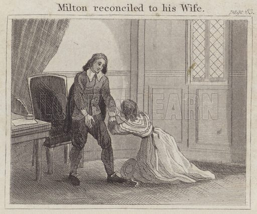 Milton reconciled to his Wife. Illustration for Beginnings of Biography by Isaac Taylor (J Harris, 1824).