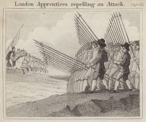London Apprentices repelling an Attack. Illustration for Beginnings of Biography by Isaac Taylor (J Harris, 1824).