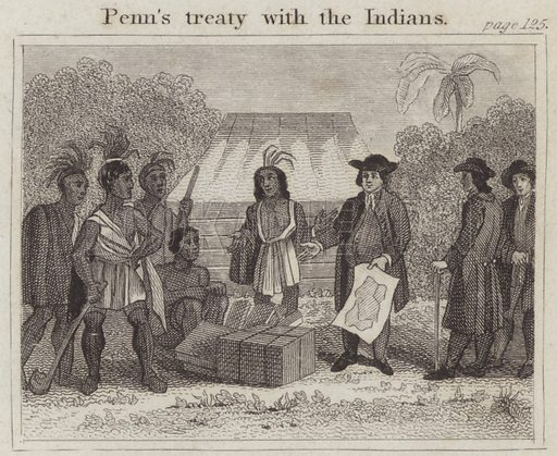Penn's treaty with the Indians. Illustration for Beginnings of Biography by Isaac Taylor (J Harris, 1824).
