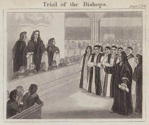 Trial of the Bishops. Illustration for Beginnings of Biography by Isaac Taylor (J Harris, 1824).