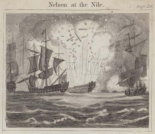 Nelson at the Nile. Illustration for Beginnings of Biography by Isaac Taylor (J Harris, 1824).