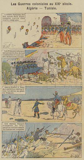 Les Guerres coloniales au XIXe siecle, Algerie, Tunisie. Illustration for Histoire de France by C Plomion (Garnier, 1896).