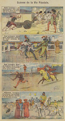 Scenes de la Vie Feodale. Illustration for Histoire de France by C Plomion (Garnier, 1896).