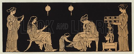 Ladies at their toilet. Illustration for Greek Story and Song by Alfred J Church (Seeley, 1903).