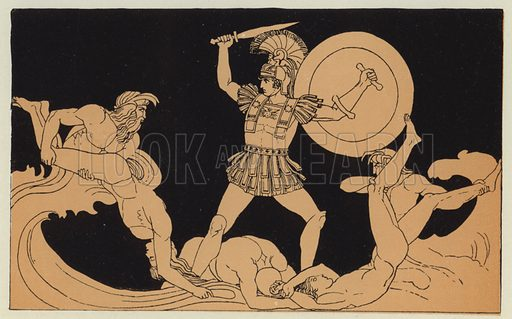 Achilles contending with the river. Illustration for Greek Story and Song by Alfred J Church (Seeley, 1903).