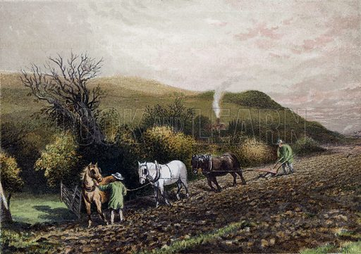 Ploughing. Illustration for Hymns and Pictures (second series, SPCK, c 1880).