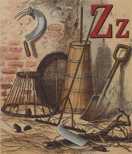 Illustration for John Bull's Farm Alphabet with coloured designs by LC Henley (Frederick Warne, c 1885).