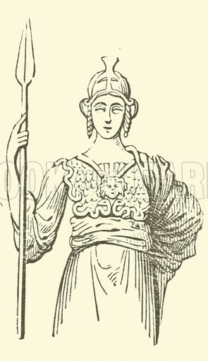 Aegis. Originally a protection of goatskin worn by the early inhabitants of Greece. Illustration for Adeline's Art Dictionary (Virtue, 1891).