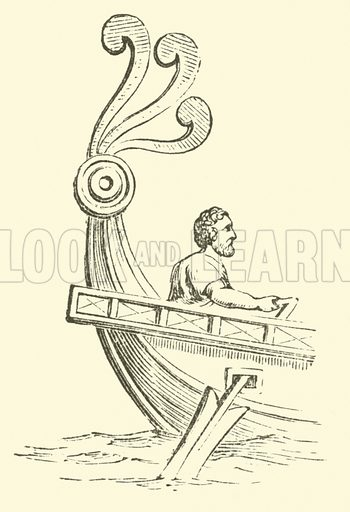 Aplustre. A wooden ornament which surmounted the stern of a Roman galley. Illustration for Adeline's Art Dictionary (Virtue, 1891).