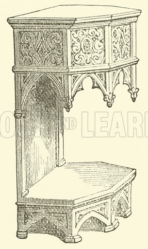 Buffet. A piece of furniture on which dishes, plate, and glass are displayed. Illustration for Adeline's Art Dictionary (Virtue, 1891).