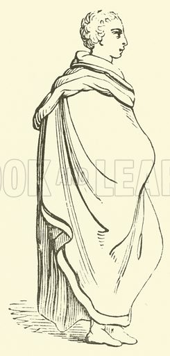 Pallium. A garment which may best be described as a large cloak. Illustration for Adeline's Art Dictionary (Virtue, 1891).
