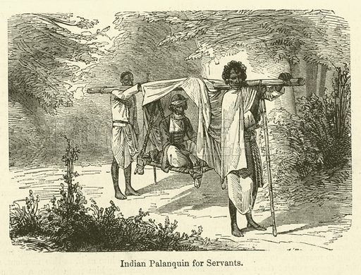 Indian Palanquin for Servants. Illustration for Chatterbox, 1870.