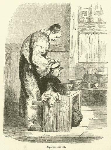Japanese Barber. Illustration for Chatterbox, 1870.