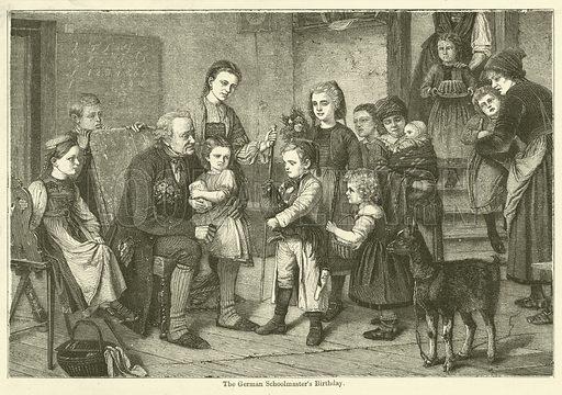 The German Schoolmaster's Birthday. Illustration for Chatterbox, 1870.