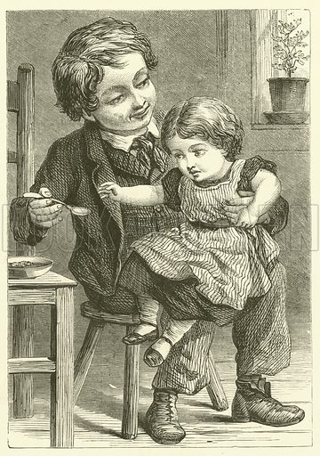 The Little Sister. Illustration for Chatterbox, 1873.