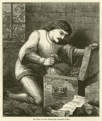The Heir of Linne finding the concealed chests. Illustration for Chatterbox, 1877.