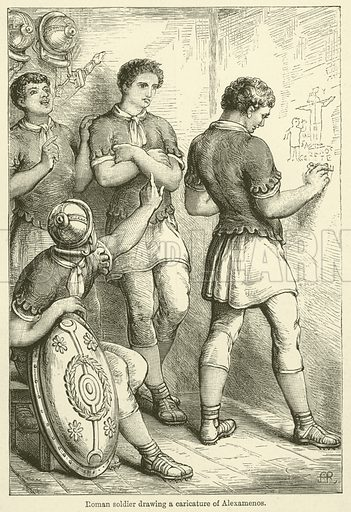 Roman soldier drawing a caricature of Alexamenos. Illustration for Chatterbox, 1888.