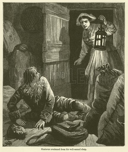 Gustavus awakened from his well-earned sleep. Illustration for Chatterbox, 1888.