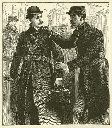 The Forger's Arrest. Illustration for Chatterbox, 1888.