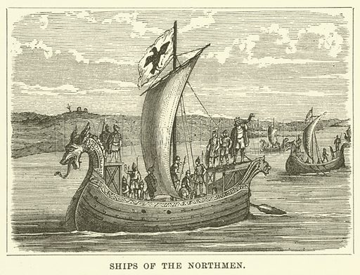Ships of the Northmen. Illustration for Illustrated Notes on English Church History by Arthur Lane (SPCK, 1889).