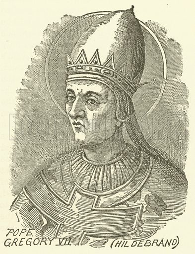 Pope Gregory VII, Hildebrand. Illustration for Illustrated Notes on English Church History by Arthur Lane (SPCK, 1889).