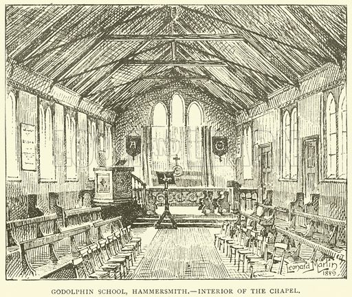Godolphin School, Hammersmith, interior of the chapel. Illustration for Illustrations, a Pictorial Review of Knowledge (W Kent, 1890).