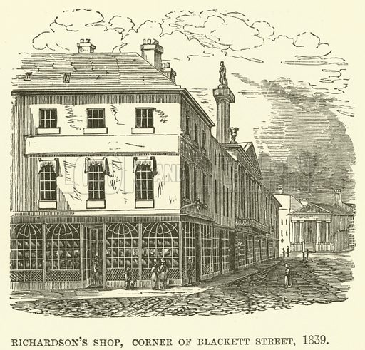 Richardson's shop, corner of Blackett Street, 1839. Illustration for The Monthly Chronicle of North Country Lore and Legend, 1889.