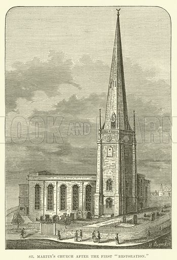 """St Martin's Church after the first """"restoration"""". Illustration for Old and New Birmingham by Robert K Dent (Houghton and Hammond, c 1880)."""