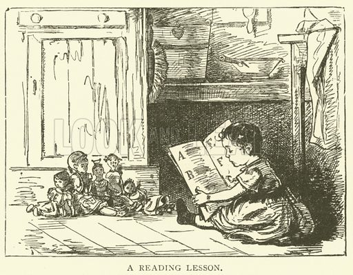 A reading lesson. Illustration for Cassell's Pictorial Scrap Book (1889).