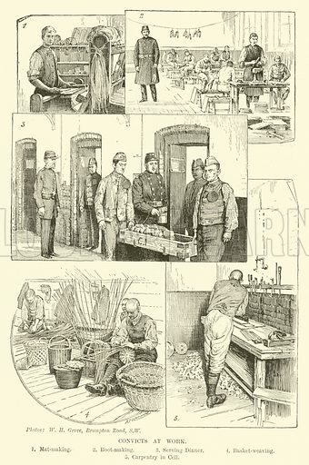 Convicts at work. Illustration for Mysteries of Police and Crime by Arthur Griffiths (Cassell, c 1898).