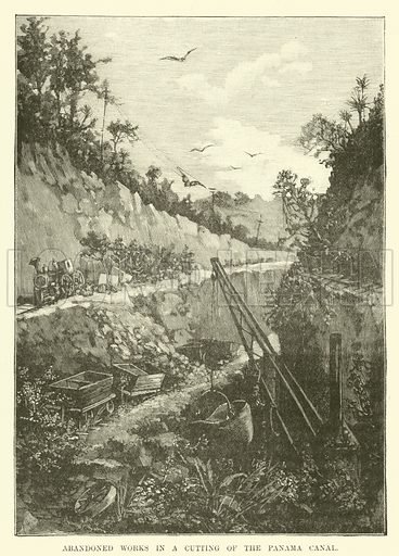 Abandoned works in a cutting of the Panama Canal. Illustration for Mysteries of Police and Crime by Arthur Griffiths (Cassell, c 1898).