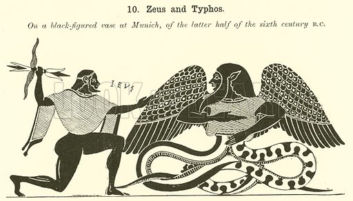 Zeus and Typhos. Illustration for Illustrations of School Classics arranged and described by GF Hill (Macmillan, 1903).