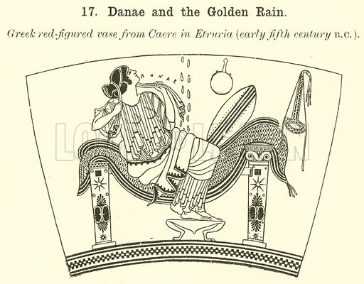 Danae and the Golden Rain. Illustration for Illustrations of School Classics arranged and described by G F Hill (Macmillan, 1903).