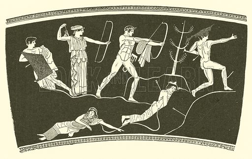 The slaying of the Niobids. Illustration for Illustrations of School Classics arranged and described by GF Hill (Macmillan, 1903).