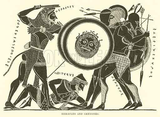 Heracles and Geryones. Illustration for Illustrations of School Classics arranged and described by GF Hill (Macmillan, 1903).