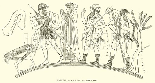 Briseis taken by Agamemnon. Illustration for Illustrations of School Classics arranged and described by GF Hill (Macmillan, 1903).