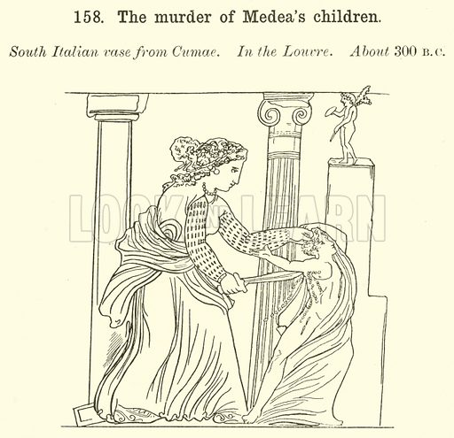 The murder of Medea's children. Illustration for Illustrations of School Classics arranged and described by GF Hill (Macmillan, 1903).