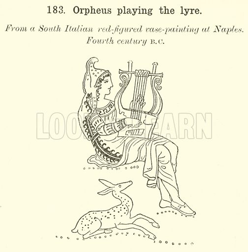 Orpheus playing the lyre. Illustration for Illustrations of School Classics arranged and described by GF Hill (Macmillan, 1903).