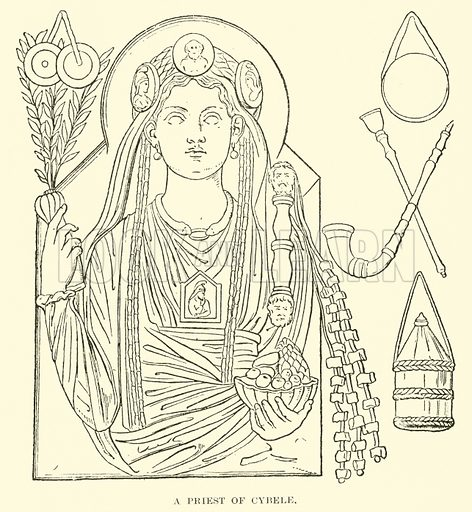 A Priest of Cybele. Illustration for Illustrations of School Classics arranged and described by G F Hill (Macmillan, 1903).